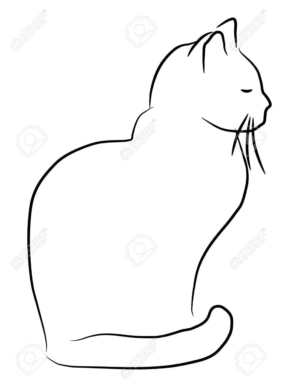 Раскраски кота контур кота спящий кот