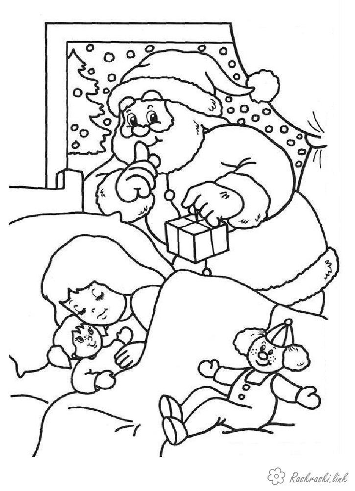 Розмальовки дівчинка розмальовки дітям, чорно-білі картинки, новий рік, свято, зима, дід мороз, подарунки, спляча дівчинка