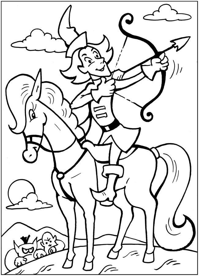 Раскраски бы Лучник сидя на коне натягивает тетиву лука что бы выстрелить стрелой