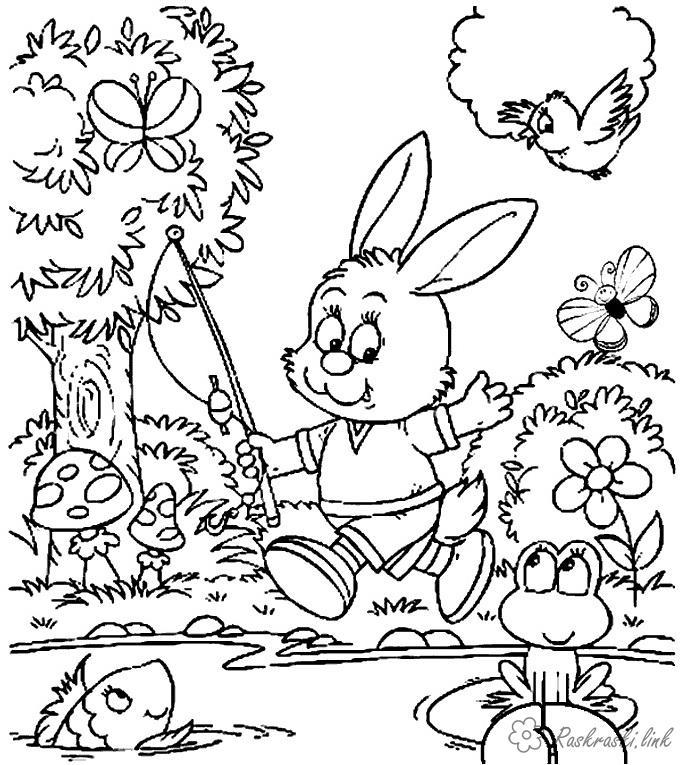 Раскраски рыбка Раскраска животные, дикие животные, заяц, раскраска зайчик, заяц в одежде, заяц с удочкой, раскраска бабочки, раскраска грибы, раскраска рыбка, раскраска птичка, лес, вода