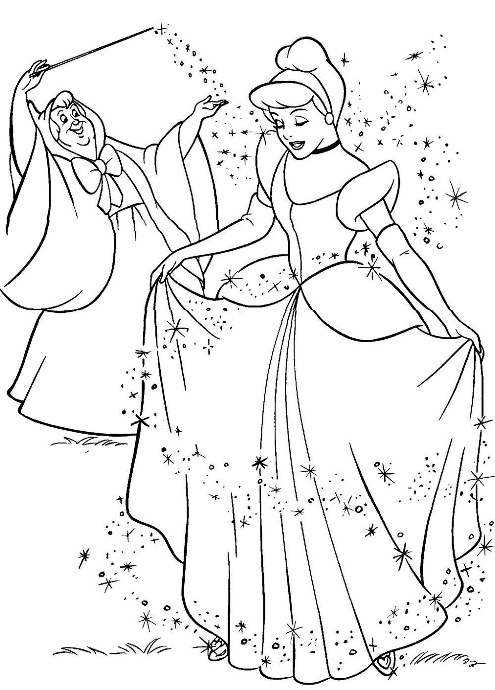Раскраски она Фея готовит Золушку к балу, она одела ее в пышное платье