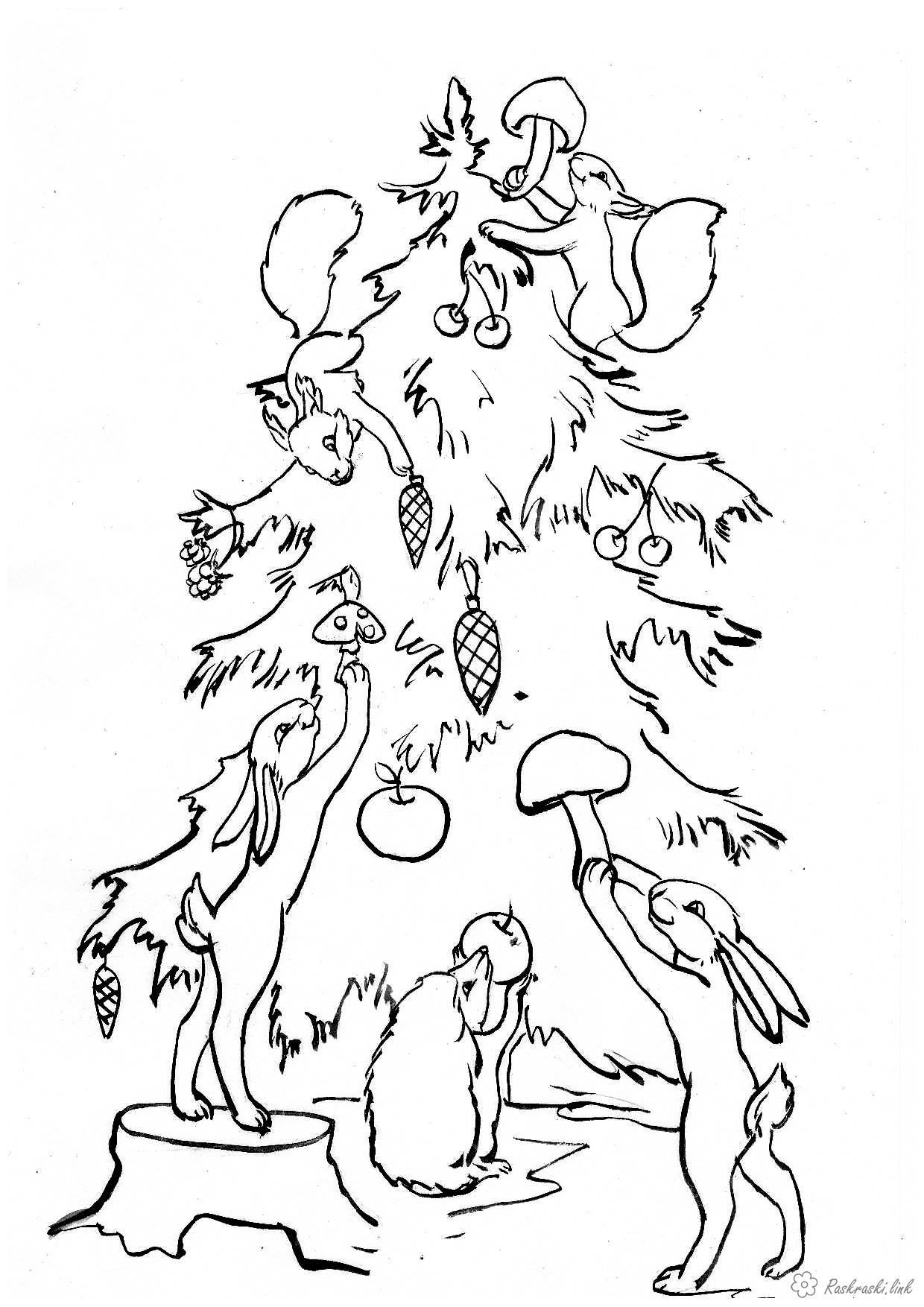 Розмальовки білочка Розмальовка тварини, лісові тварини, дикі тварини, розфарбування новий рік, заєць, білка, їжак, зайч...