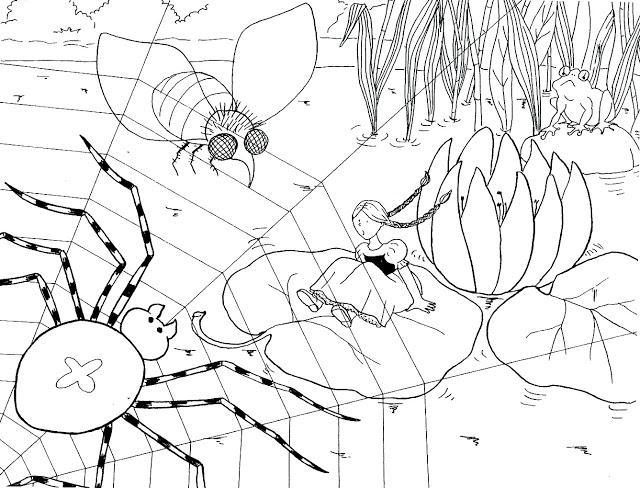 Раскраски болоте Дюймовочка сидит на листке в болоте, сверху лазает паук
