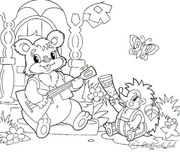 Раскраски музыкальных Раскраска животные, природа, лесные животные, дикие животные, медведь, раскраска медвежонок, еж, раскраска ежик, играют, домик,  цветы, бабочки, детская раскраска