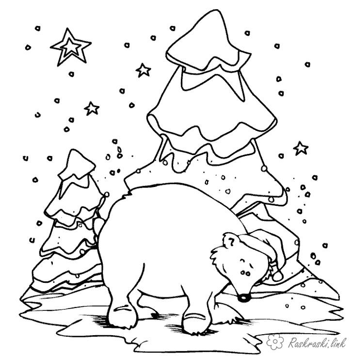 Coloring hat coloring pages animals, wild animals, nature, painting a bear, new year, winter, snow, tree, bear in a hat