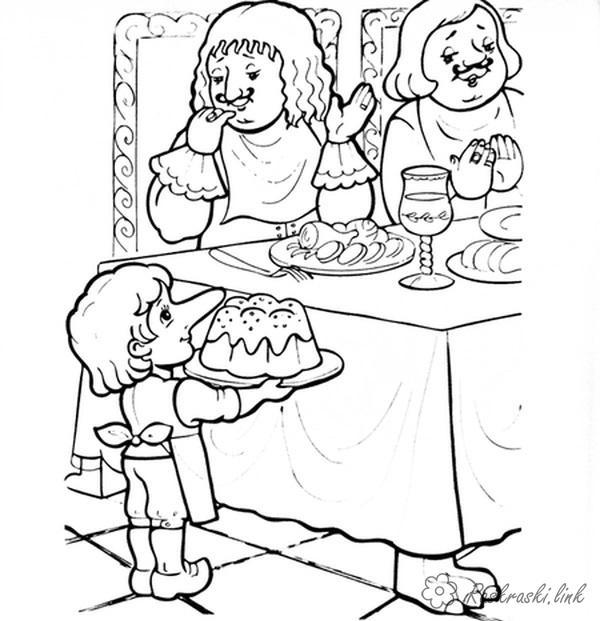 Раскраски поваром карлик нос, раскраска, мультфильм, Гауф, повар, герцог, гости, еда, талантливый повар