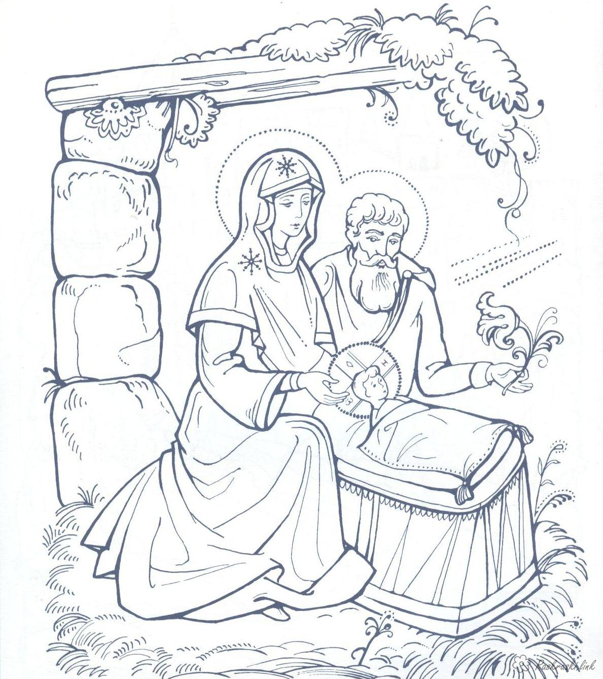 Coloring night christmas, night, Jesus, coloring pages