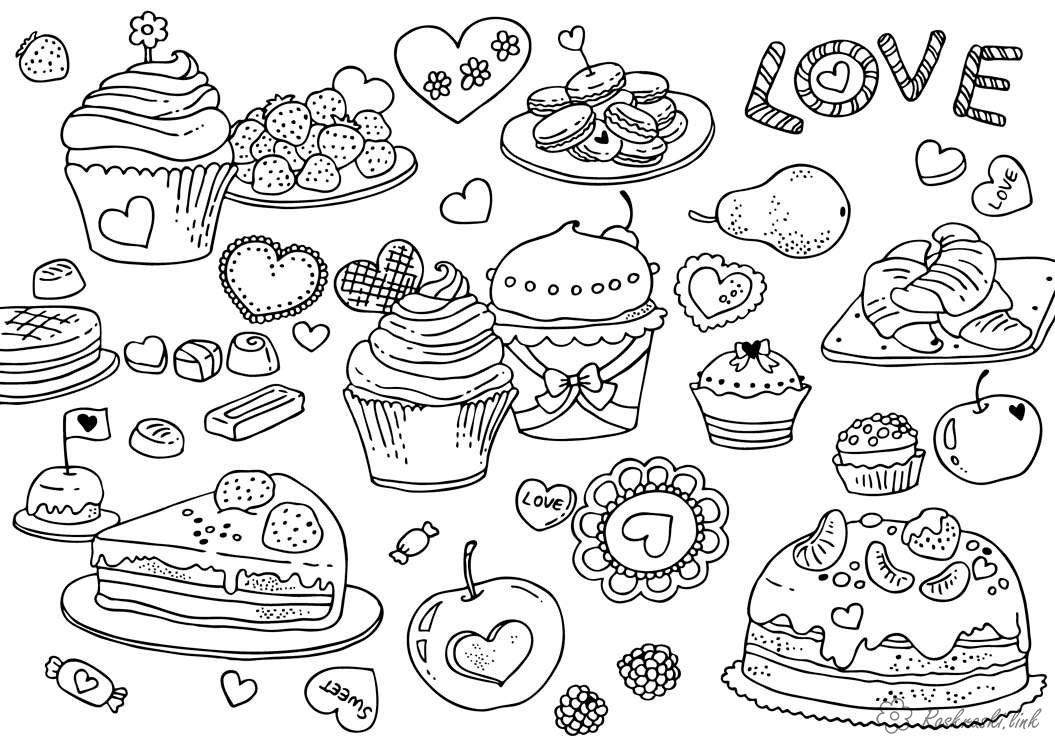 Coloring Valentine's Day Cakes, pastries, cakes