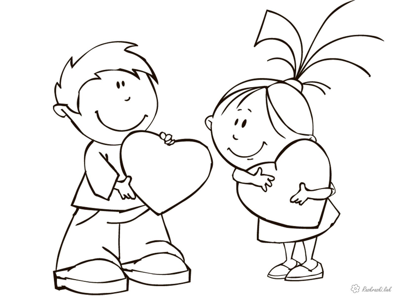 Розмальовки дівчинка хлопчик, дівчинка, сердечка
