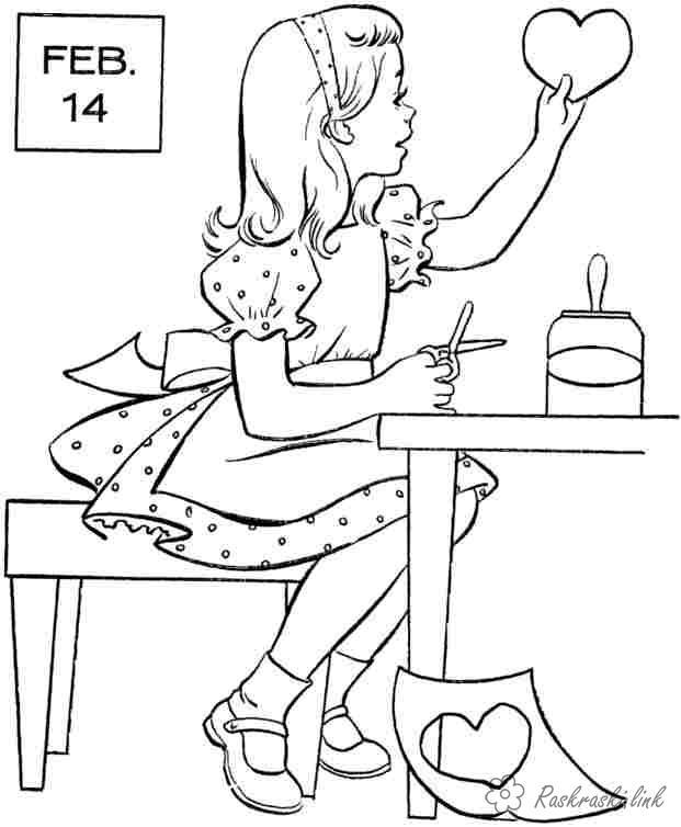 Розмальовки листівка День Святого Валентина, листівка, валентинка