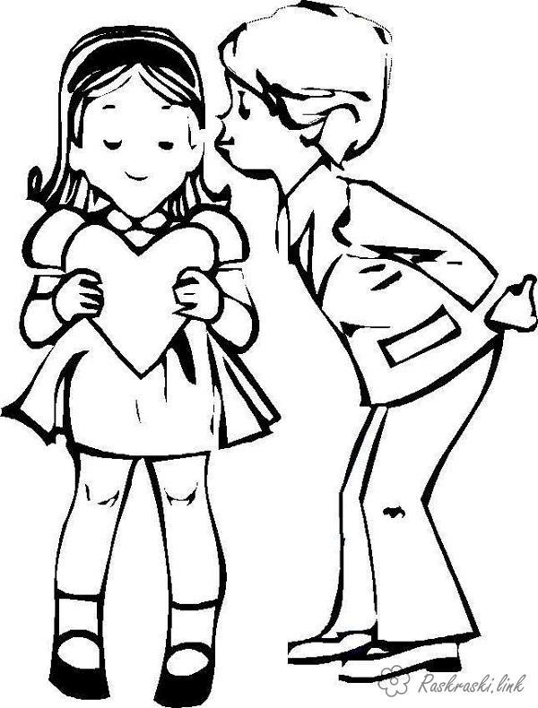 Розмальовки листівка діти, любов, листівка, валентинка