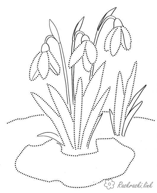 Coloring Spring snowdrops, spring, the first flowers, coloring pages