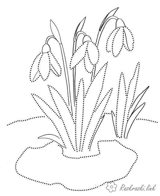 Розмальовки Весна проліски, весна, перші квіти, розфарбування