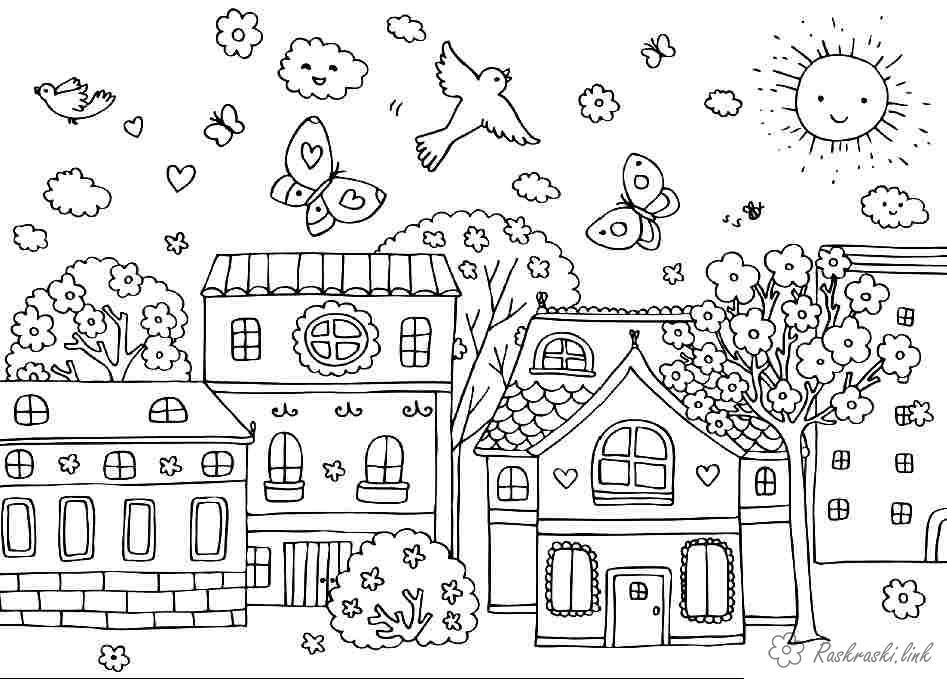 Розмальовки Весна весна в городе, весенняя раскраска