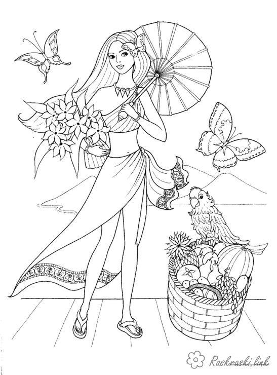 Розмальовки дівчинка Дитячі розмальовки, природа, відпочинок, відпочинок на природі, дівчинка, дівчина, дівчинка з парасо...