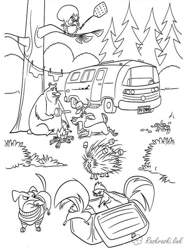 Раскраски природе Детские раскраски, природа, отдых, отдых на природе, животные, автобус