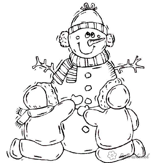 Розмальовки сніговик Дитячі розмальовки, природа, відпочинок, відпочинок на природі, зима, сніговик, діти, хлопчик