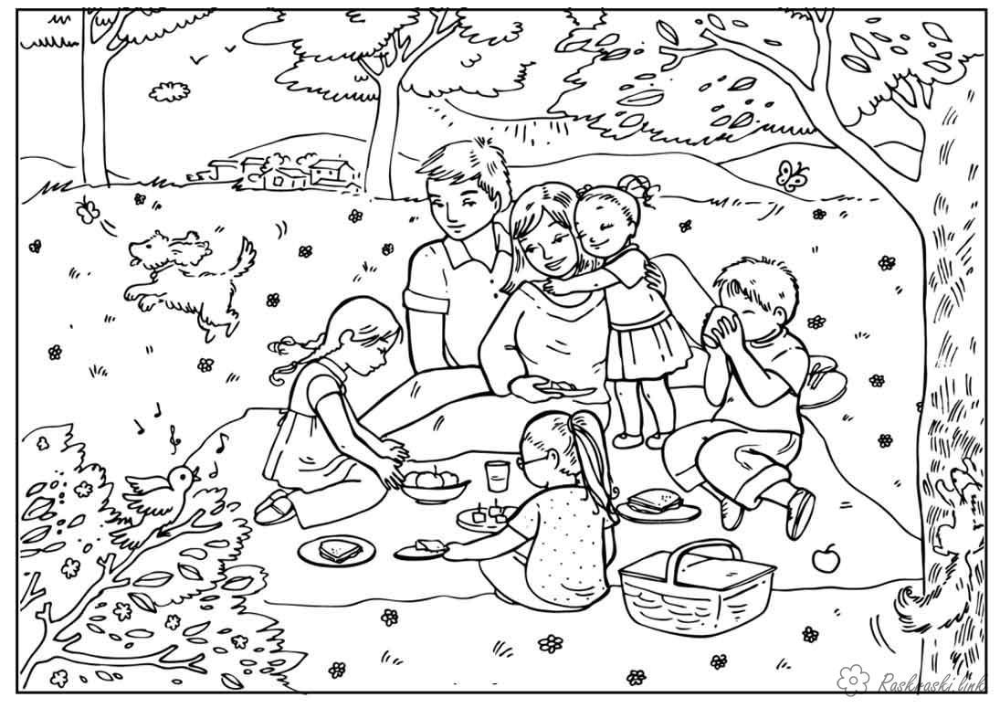 Раскраски природа Детские раскраски, природа, отдых, отдых на природе, дети, лес