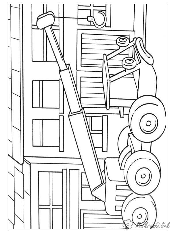 Розмальовки Будівельна техніка кран