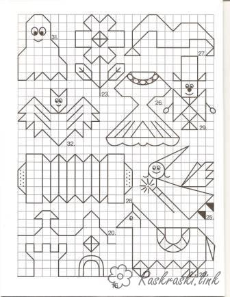 Coloring Graphic dictation coloring pages on the cell, graphic dictation, horse, castle, fairy, dress, flower, bat, ghost
