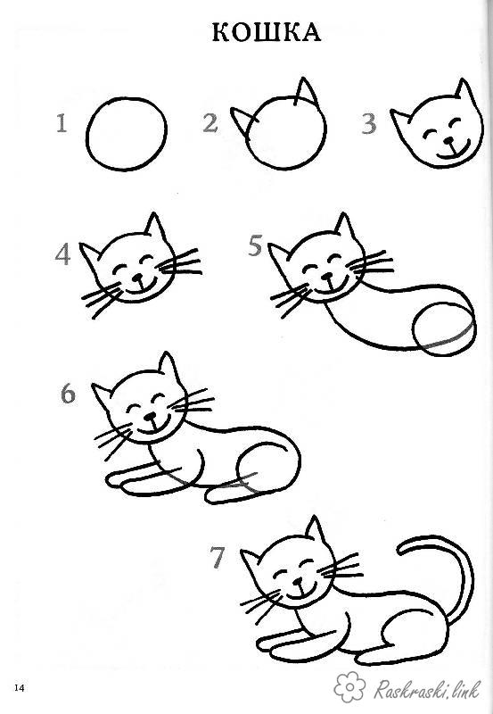 Coloring How to draw how to draw a cat in stages