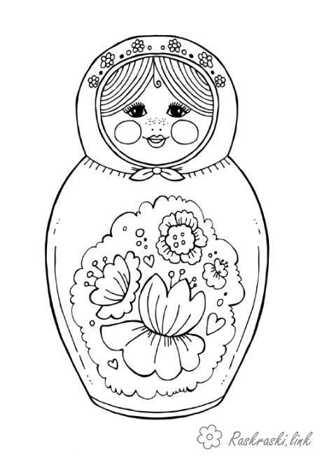 Coloring Colorize doll Matryoshka, rasskraska