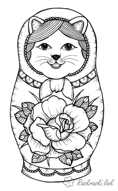 Розмальовки матрешка раскраска, матрёшка, усы, цветок