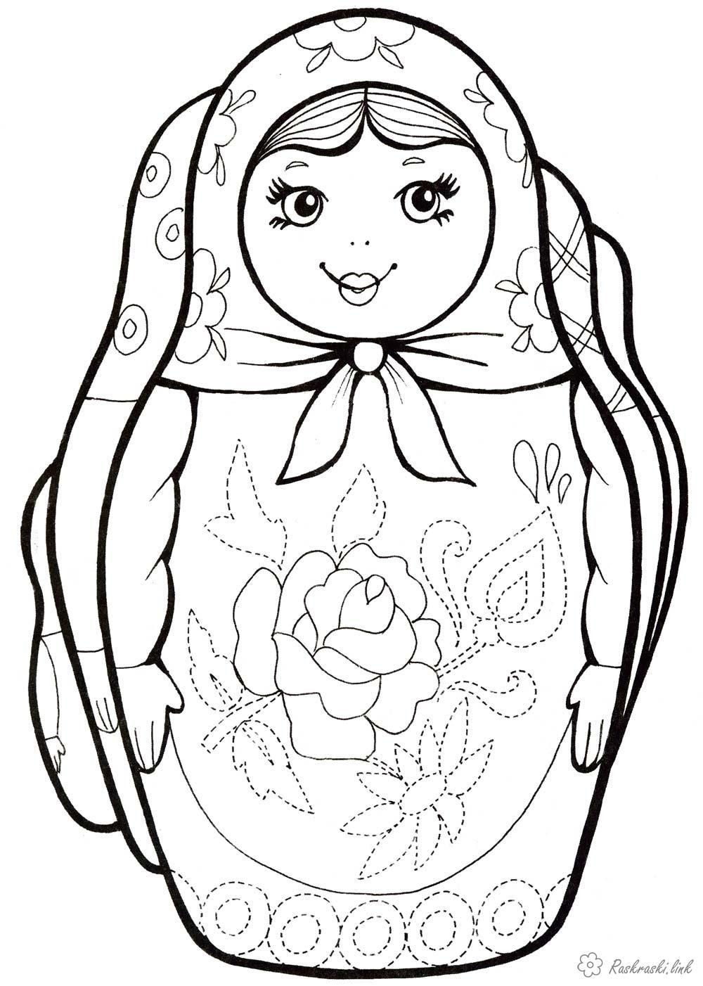 Розмальовки Розфарбувати матрьошку раскраски, детские раскраски, матрёшка,  национальные платья