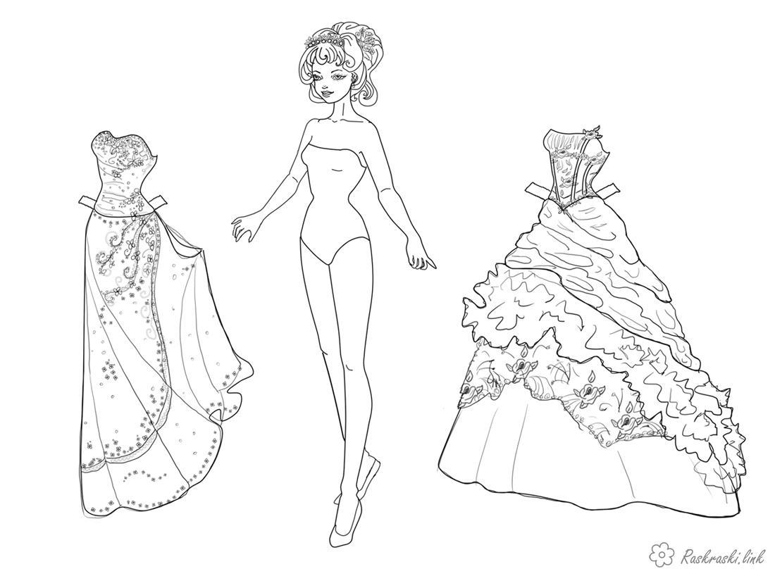 Розмальовки дівчинка розфарбування, одяг, дівчинка, сукні