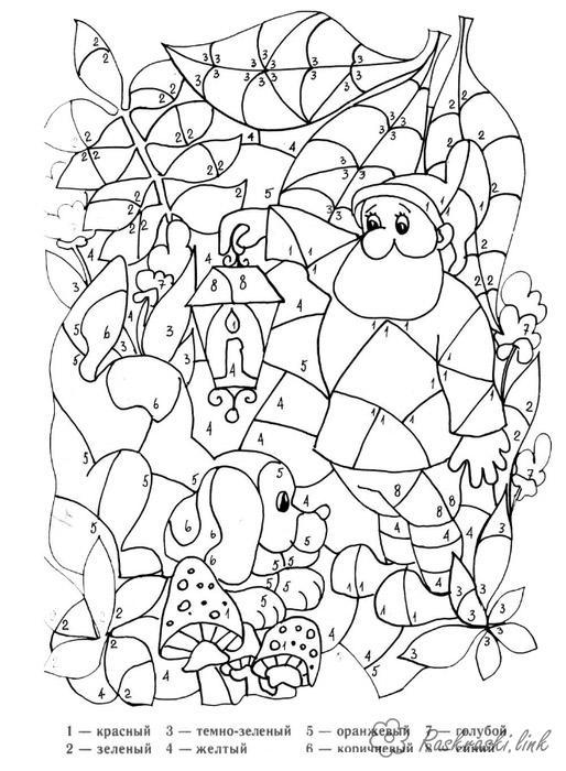 Раскраски гном Раскраска матмематическая