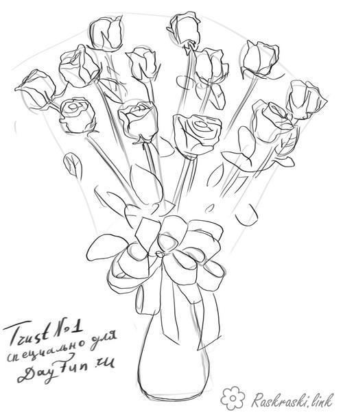 Coloring bouquet bouquet, roses, flowers, gift