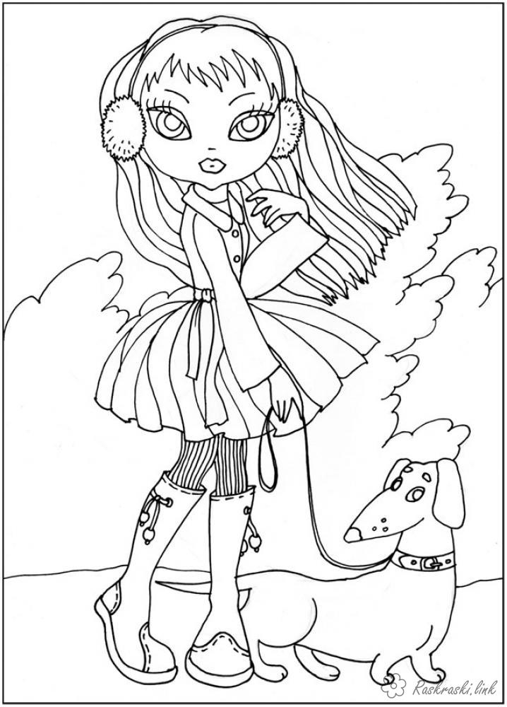 Coloring coloring pages girl girl dog collar dress clothes headphones