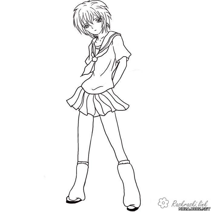Coloring coloring pages girl coloring pages for girls, anime, dress