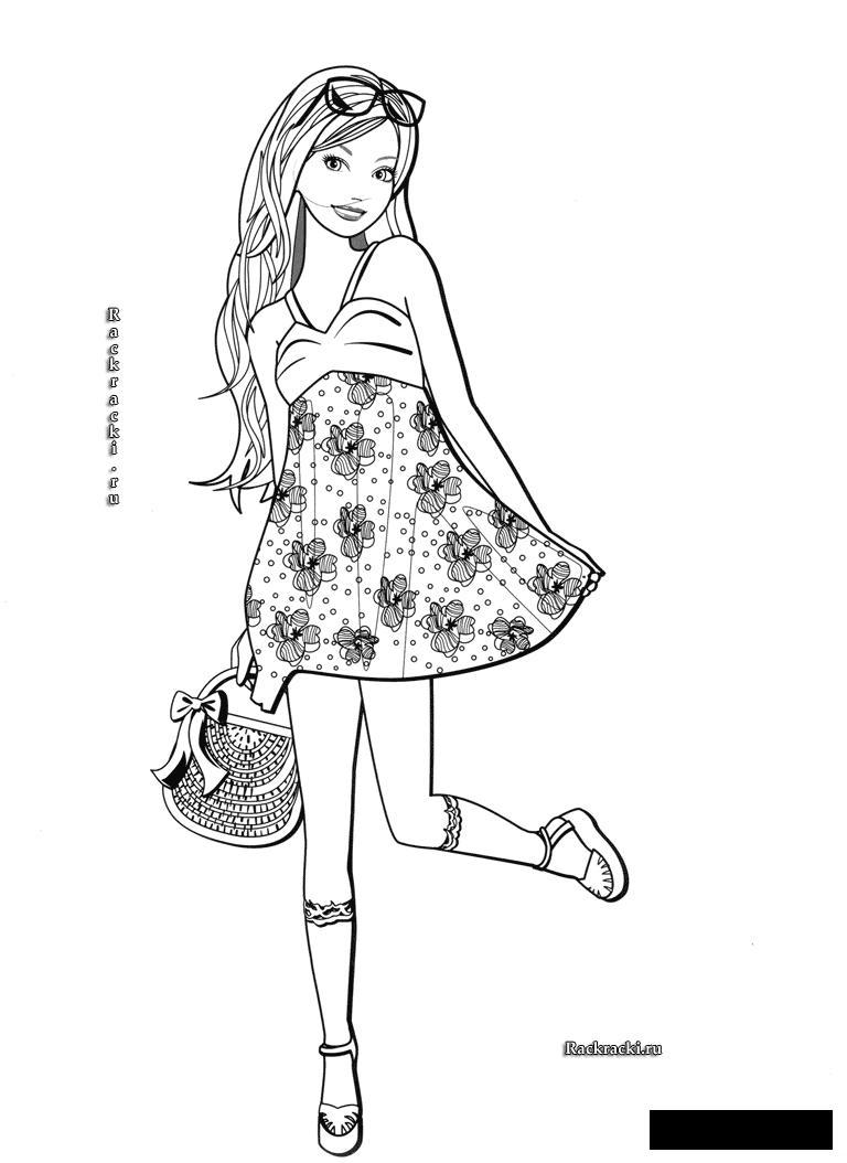 Coloring fashionable girl fashionable dress bag tfuli