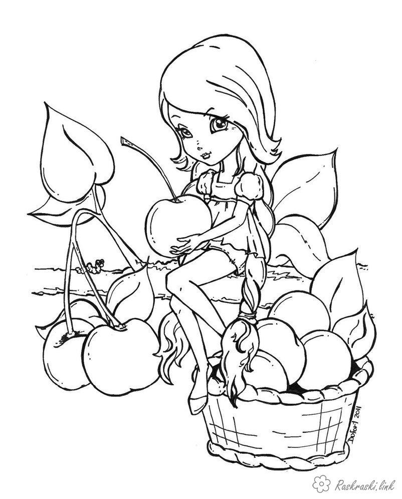 Розмальовки дівчинка фея, дівчинка, яблука