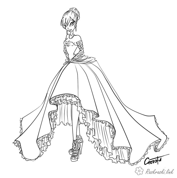 Розмальовки плаття дівчина плаття шикарне високі туфлі красива