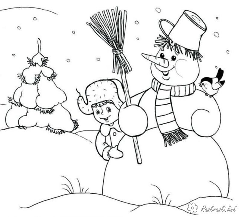 Розмальовки зима хлопчик, сніговик, зима