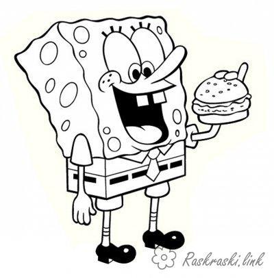 Розмальовки спанч Спанч боб їсть, Гамбургер, Розмальовка