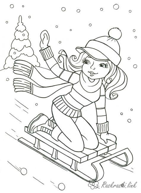Coloring Winter snow, girl, slide, sleds, coloring pages