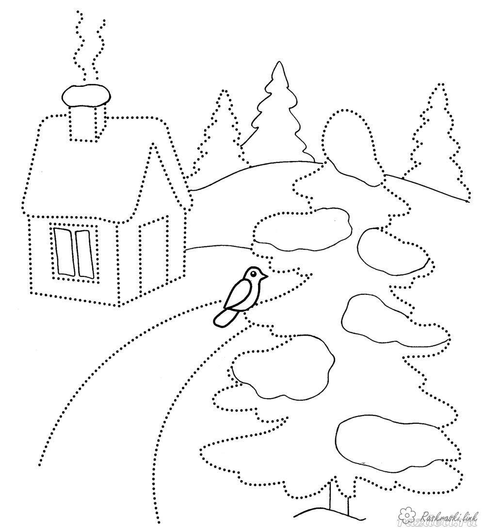 Coloring Winter bird tree snow house