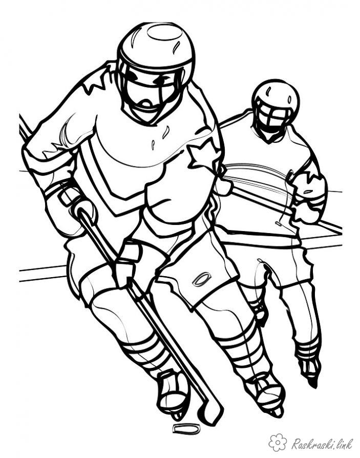 Coloring Winter hockey players skate the puck form