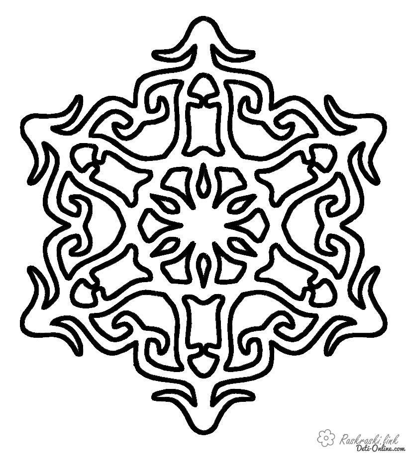 Розмальовки аплікація сніжинка, розфарбувати, аплікація