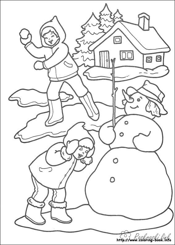 Розмальовки сніговик розфарбування, діти, сніговик, будинок, ліс, зима