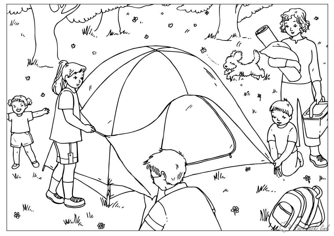 Coloring summer drawing kids play tent collect Mom