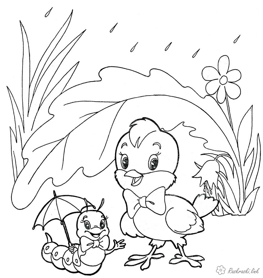 Coloring summer Spring rain flower chicken caterpillar coloring pages