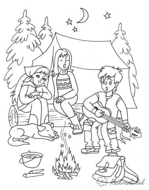 Coloring summer coloring pages, forest, tent, campfire, guitar, funny guys