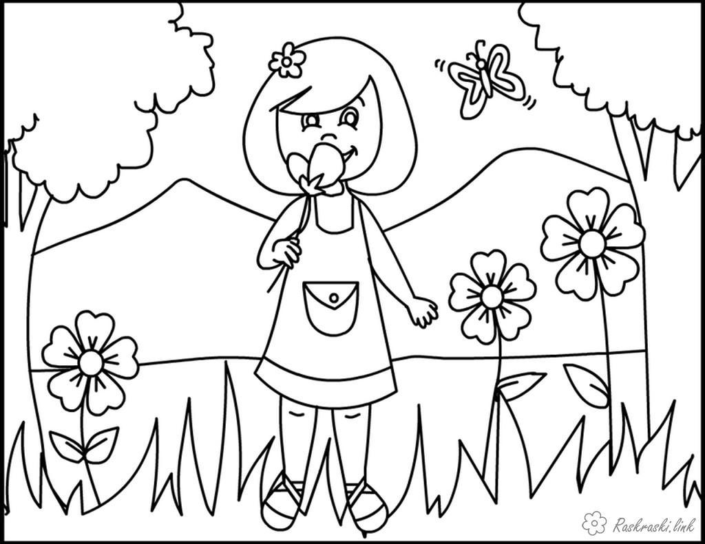 Розмальовки дівчинка розфарбування, дівчинка, метелик, квітка, літо
