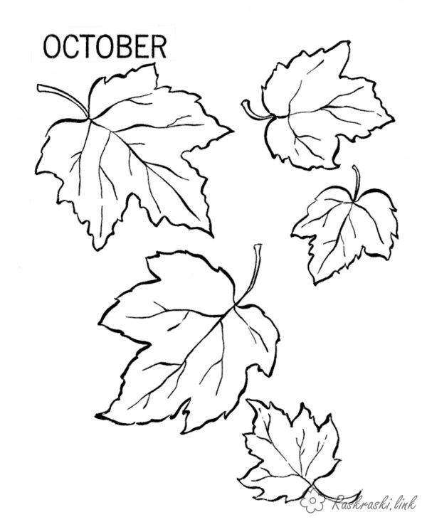 Розмальовки Осінь раскраски, октябрь, листья