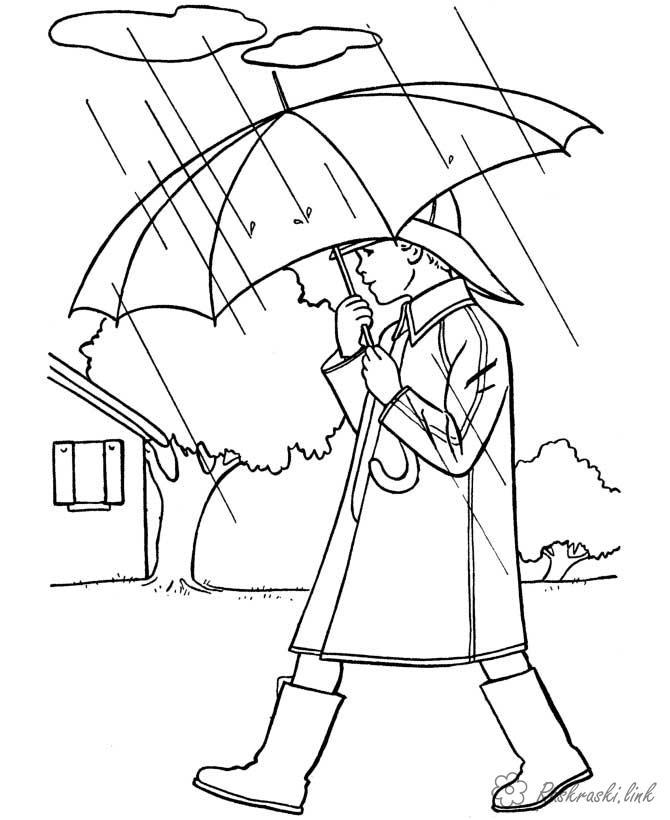 Розмальовки Осінь пори року розфарбування осінь дощ парасольку людина