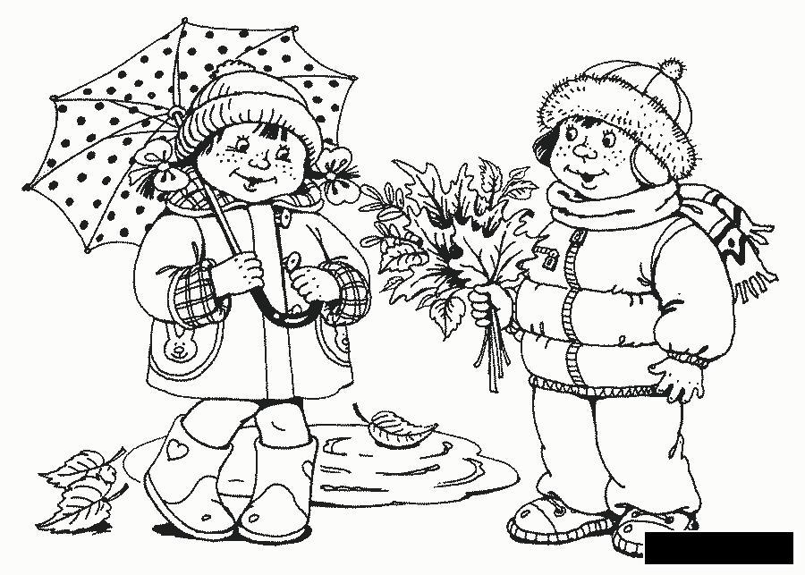 Розмальовки Осінь мальчик девочка зонт листья лужа
